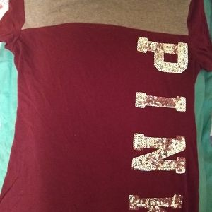 Pink tee shirt. Maroon shirt with silver sequins.